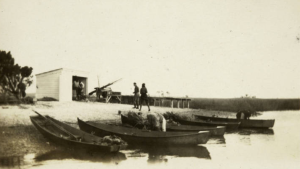 Duck hunters at Hobcaw fired both from blinds and from boats, or bateaux, seen here in North Inlet at Hobcaw Barony.