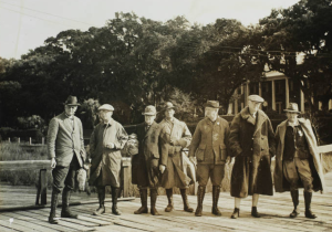 Bernard Baruch, second from right, entertained presidents, prime ministers and premiers between 1905 and 1956. As there was no bridge from Georgetown to the Waccamaw Neck until 1935, Hobcaw's guests, pictured on the dock c. 1931 arrived by boat across Winyah Bay.