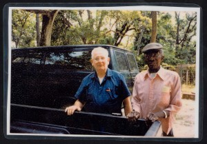 "In this 1995 photo, former residents Boyd Marlow and Prince Jenkins visit near the garage at Bellefield Plantation. Marlow and his sister, ""Noonie"", grew up with his uncle Joe Vereen in Bellefield's two-story superintendent's house. Jenkins grew up in the former slave village at Friendfield. Marlow was a Pawleys Island area plumber, and Jenkins served as a Baruch chauffeur and handyman. The men were lifelong friends."