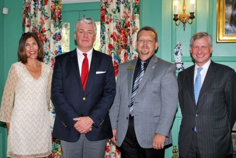 George Chastain, executive director of the Belle W. Baruch Foundation (third from left), poses with friends in the living room at Hobcaw House. Photo courtesy of Hobcaw Barony staff.