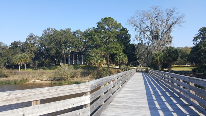 The front of Hobcaw House as seen from the pier.
