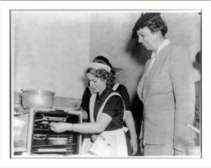 c. 1939 Eleanor Roosevelt watching Girl Scouts Bake - LOC